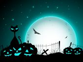 Halloween moon light night background with scary pumpkins, flying bats  and black cat. EPS 10.