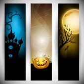 Spooky Halloween banner set. EPS 10.