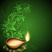 picture of deepavali  - Greeting card with diya for Diwali festival in India - JPG