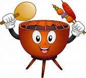 Mascot Illustration Featuring a Grill Holding a Paper Fan in One Hand and Skewered Meat on the Other