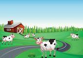 Ilustración de una casa y una vaca en una naturaleza hermosa