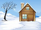 illustration of a landcape and a house in a beautiful nature