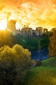 Castelo de Lismore Autumn Sunset Over e rio Blackwater