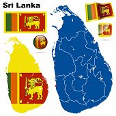 Sri Lanka vector set. Detailed country shape with region borders, flags and icons isolated on white background.