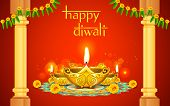 stock photo of diya  - illustration of decorated golden diya for Diwali - JPG
