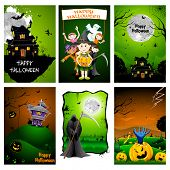 illustration of set of poster for Halloween celebration