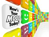 Choose your answer to the question How's Your Mood Today with many different faces showing smiles, f