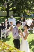 Side view of young newlywed couple toasting champagne while wedding guests sitting in garden