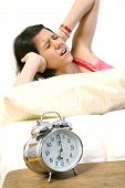 Panic Woman With Alarm Clock
