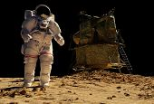 stock photo of spaceman  - The astronaut  on the background of the planet - JPG