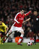 LONDON, ENGLAND. 31/03/2010. Arsenal player Cesc Fa?bregas (captain) taking and scoring a penalty  d