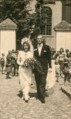 RYCHTAL, POLAND, CIRCA 1946: Vintage photo of newlyweds, Rychtal, Poland, circa 1946