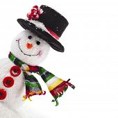 stock photo of cold-weather  - Cheerful Christmas snowman with scarf - JPG