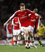 LONDON, ENGLAND. 31/03/2010. Arsenal player Nicklas Bendtner in action during the  UEFA Champions Le