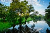Summer Landscape With River Mukhavets. The City Of Brest. Belarus.