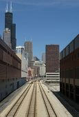 Train tracks towards downtown Chicago (USA)