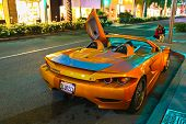 LOS ANGELES, CALIFORNIA, USA - JULY 27, 2013 : Luxurious Slovenian sports supercar Tushek stops on R