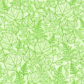 Lacey leaves lineart texture seamless pattern background
