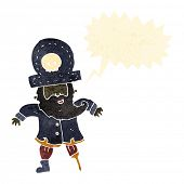 stock photo of peg-leg  - retro cartoon pirate captain - JPG