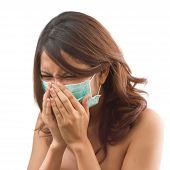Sick Women Sneezing With Epidemic Protective Mask