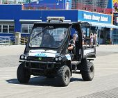 NYPD vehicle at Coney Island Boardwalk in Brooklyn