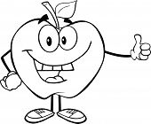 Outlined Smiling Apple Cartoon Character Holding A Thumb Up