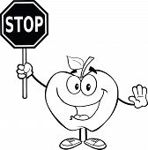 Outlined Apple Cartoon Character Holding A Stop Sign