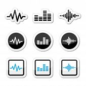 Conjunto de Soundwave music vector icons