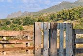 Fence In Front Mountain Landscape