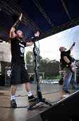 Heavy metal band performs live a rock concert