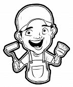 stock photo of clip-art staff  - painter man delivery man  - JPG