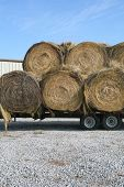 Rolls Of Hay On The Back Of The Truck