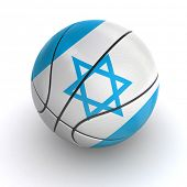 stock photo of israeli flag  - 3D basket ball with Israeli flag on white - JPG