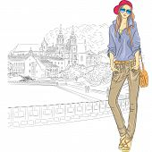 stock photo of trinity  - Vector sketch of a fashion stylish girl in jeans jacket cap with glasses and bag in the old city Trinity Suburb Minsk Belarus - JPG