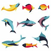 Vector Set Of Design Elements - Fishes Signs