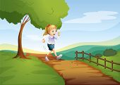 Illustration of a young lady running hurriedly