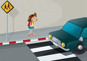Illustration of a little girl near the pedestrian lane