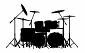 stock photo of drum-kit  - vector drum kit silhouette on white background - JPG