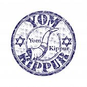foto of atonement  - Grunge rubber stamp with jewish symbols and the name of the holy day of Yom Kippur written inside the stamp - JPG
