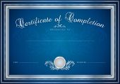 Certificate / Diploma template with silver floral pattern (tracery)