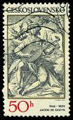Czechoslovakia - Circa 1982: A Stamp Printed In Czechoslovakia, Shows The Lute Player, By Jacob De G