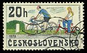 Czechoslovakia - Circa 1979: A Stamp Printed In Czechoslovakia Showing Bicycles Circa 1979