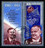 Ussr - Circa 1981: A Stamp Printed In The Ussr Showing Yuri Gagarin And Sergey Koroliov, Circa 1981