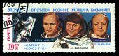 USSR - Circa 1985: An Airmail Stamp Shows Spacemen, Series