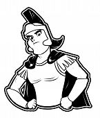 black and white clipart warrior