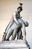 Sculpture of Menelaus supporting the body of Patroclus in the Loggia dei Lanzi, Florence, Italy