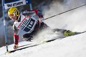VAL D'ISERE FRANCE. 11-12-2010. KOSTELIC Ivica (CRO)  attacks a control gate during  the FIS alpine