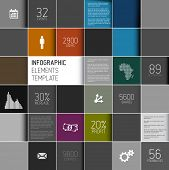 Vector abstract squares dark background illustration / infographic template with place for your cont
