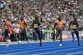June 14 2009; Berlin Germany. Schwab Williamson Burns Edwards and Bailey competing in the 400mtrs at