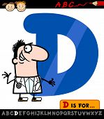 stock photo of letter d  - Cartoon Illustration of Capital Letter D from Alphabet with Doctor for Children Education - JPG
